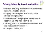 privacy integrity authentication