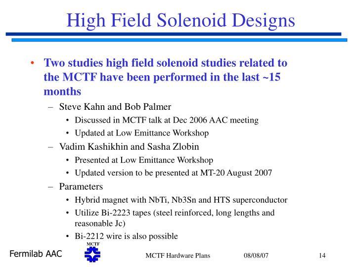 High Field Solenoid Designs