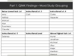 part 1 qiwk findings word study grouping