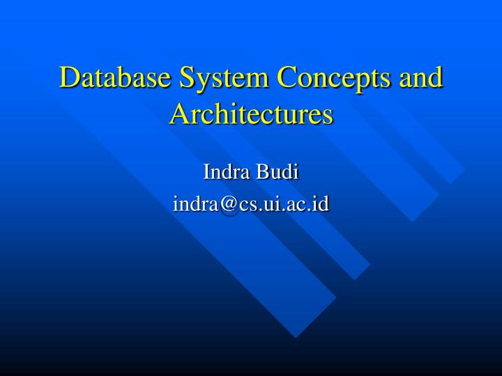 database system concepts and architecture s