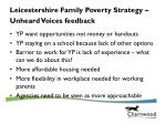 leicestershire family poverty strategy unheard voices feedback