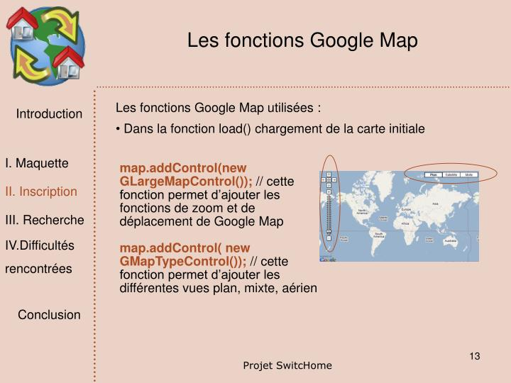 Les fonctions Google Map