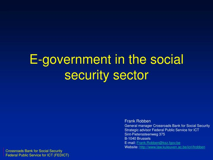 E government in the social security sector