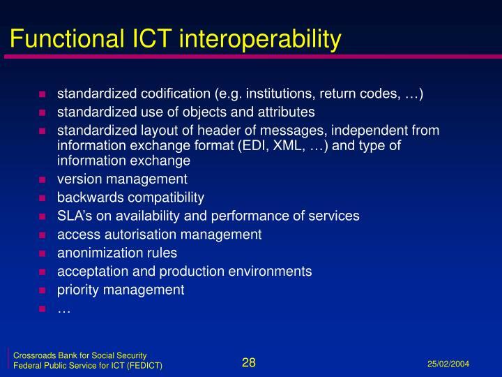 Functional ICT interoperability