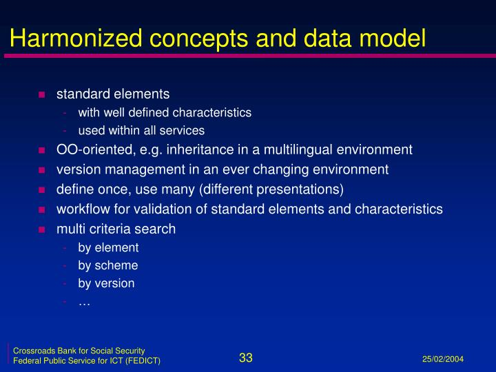 Harmonized concepts and data model