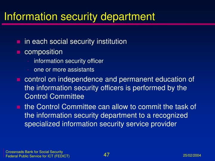 Information security department