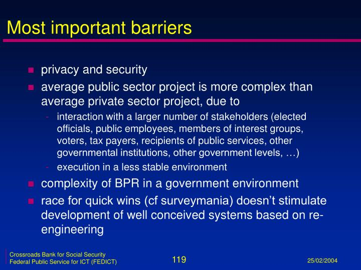 Most important barriers
