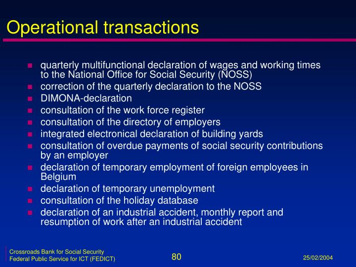 Operational transactions
