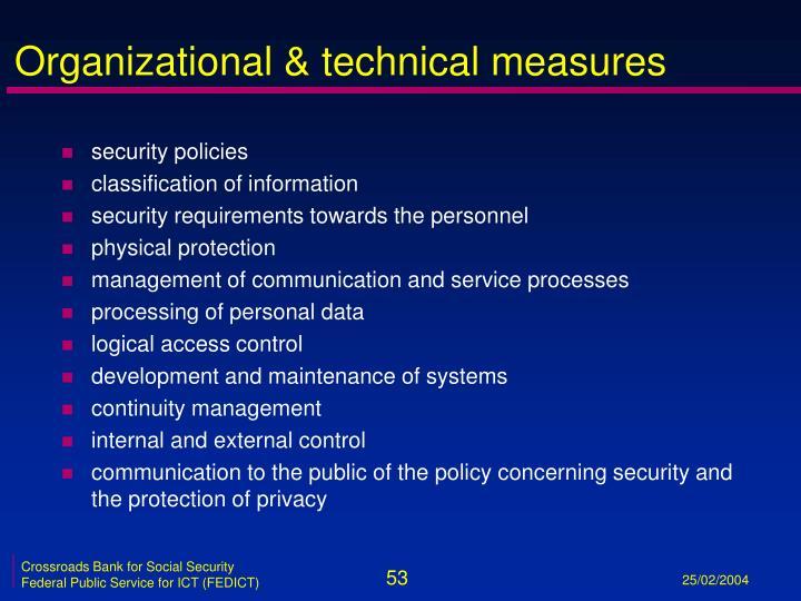 Organizational & technical measures