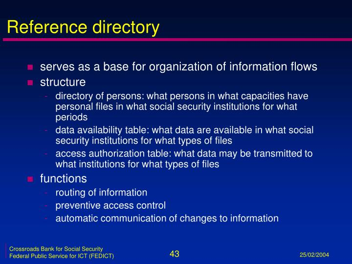 Reference directory