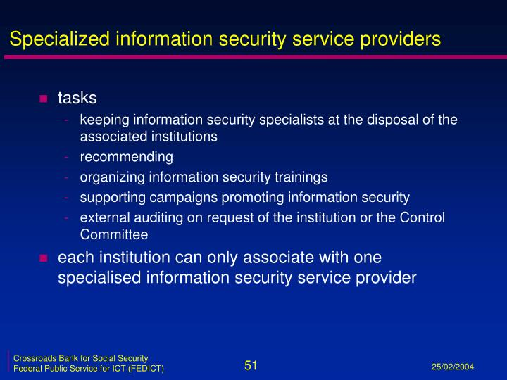 Specialized information security service providers