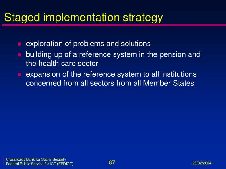 Staged implementation strategy