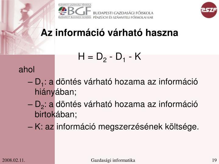 Az információ várható haszna