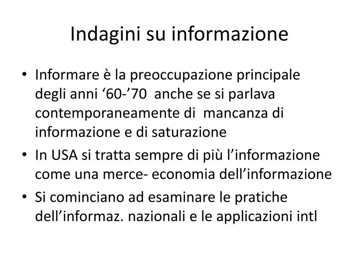 Indagini su informazione