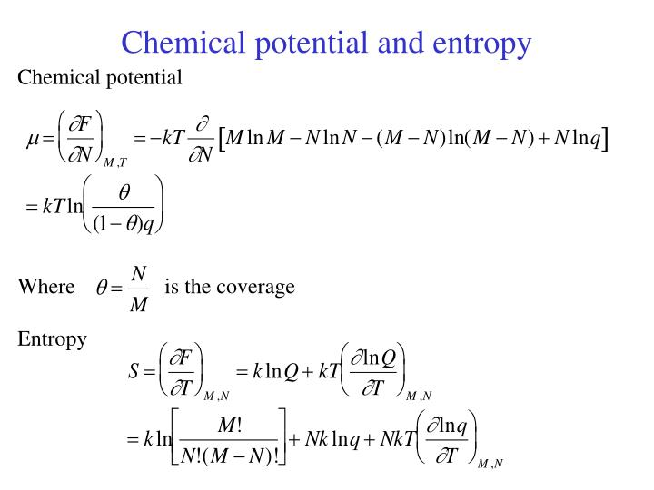 Chemical potential and entropy