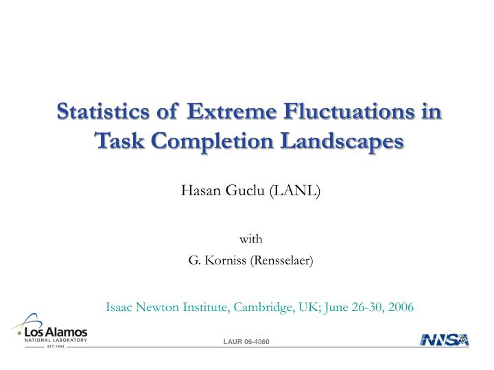 statistics of extreme fluctuations in task completion landscapes