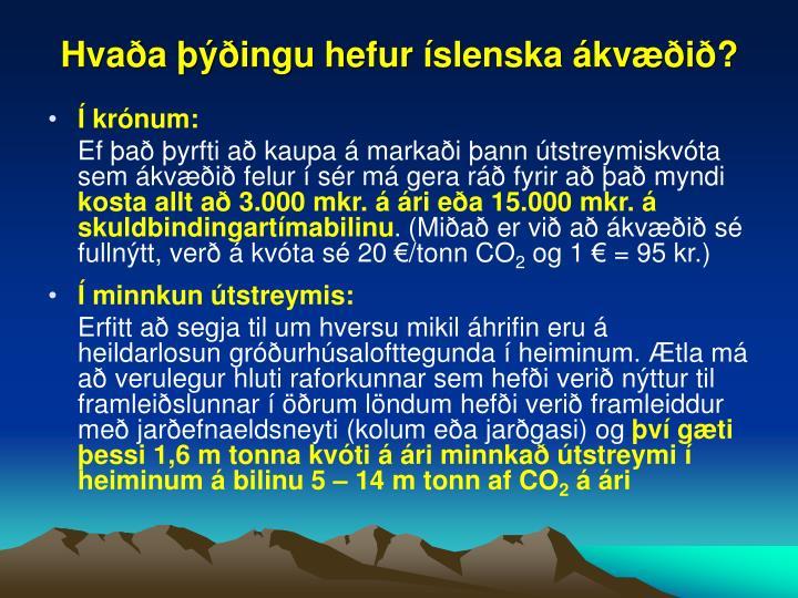 Hvaða þýðingu hefur íslenska ákvæðið?