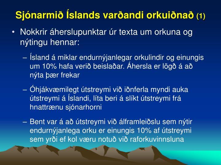 Sjónarmið Íslands varðandi orkuiðnað