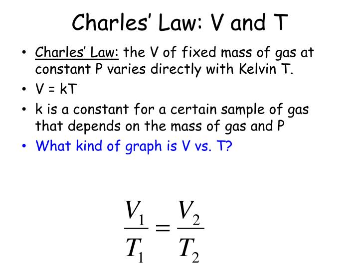 Charles' Law: V and T