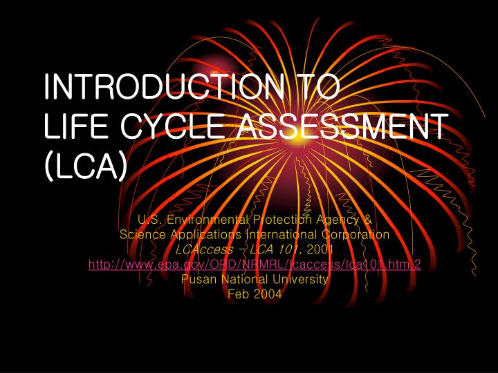 introduction to life cycle assessment lca n.