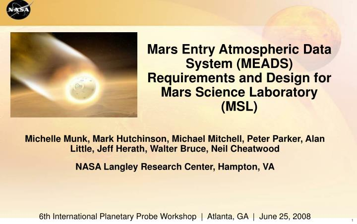 mars entry atmospheric data system meads requirements and design for mars science laboratory msl