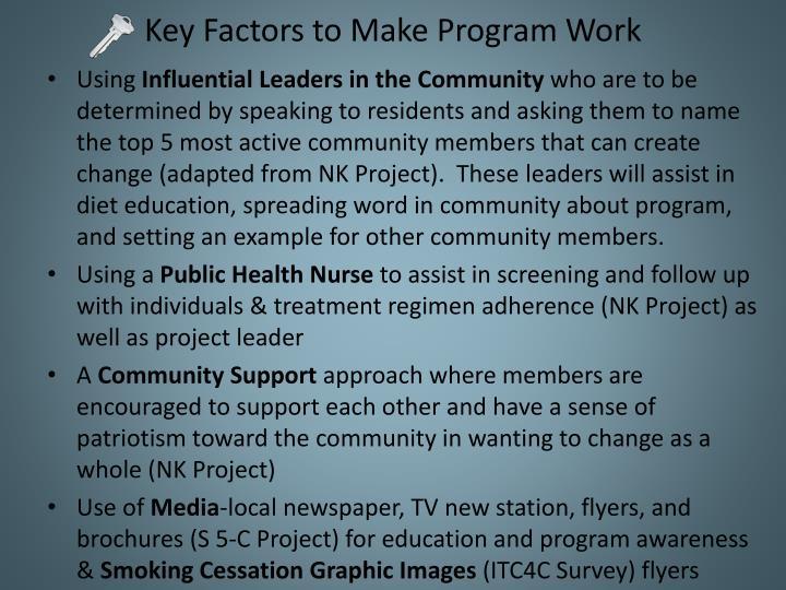 Key Factors to Make Program Work