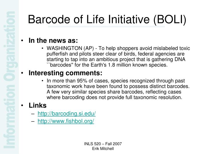 Barcode of Life Initiative (BOLI)