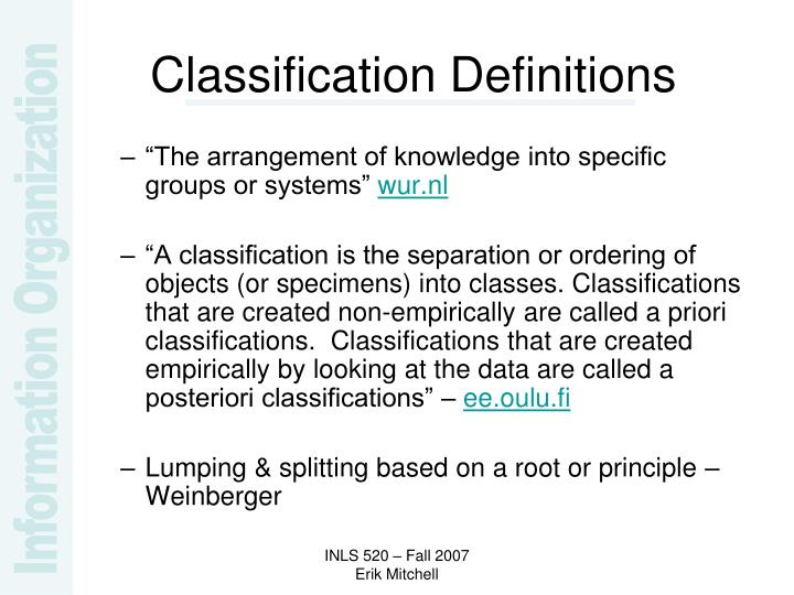 Classification Definitions