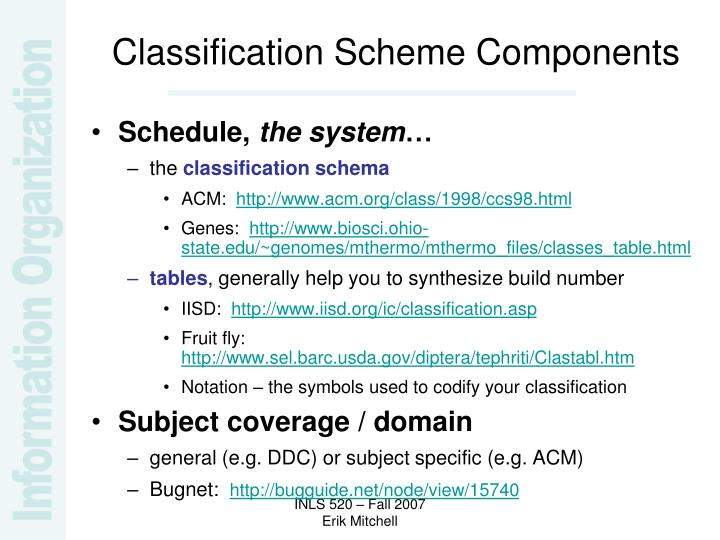 Classification Scheme Components