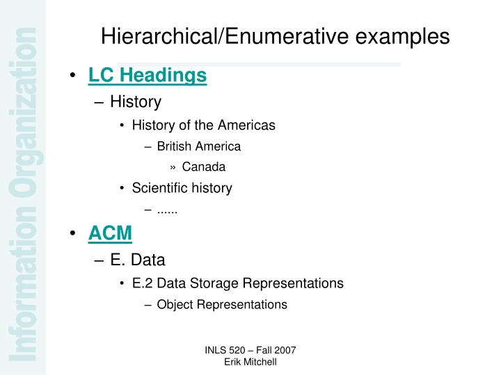 Hierarchical/Enumerative examples