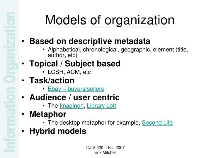 Models of organization