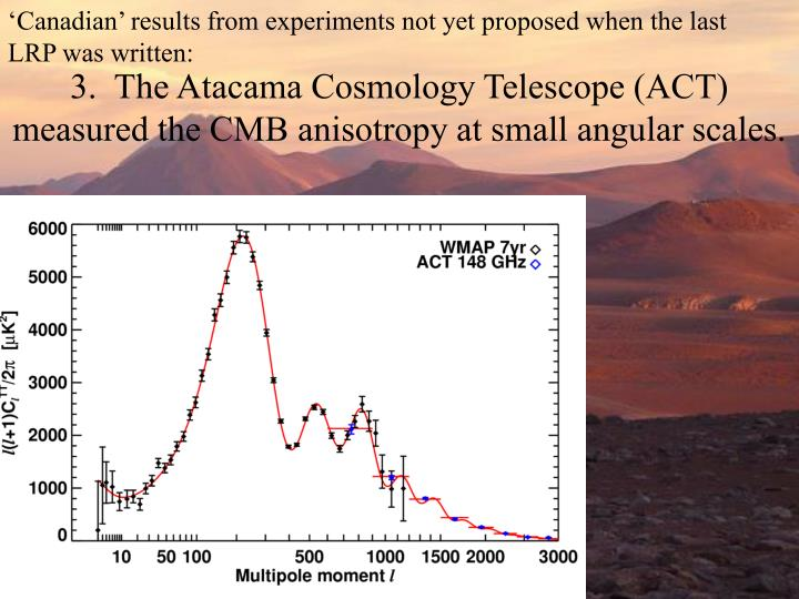 'Canadian' results from experiments not yet proposed when the last LRP was written:
