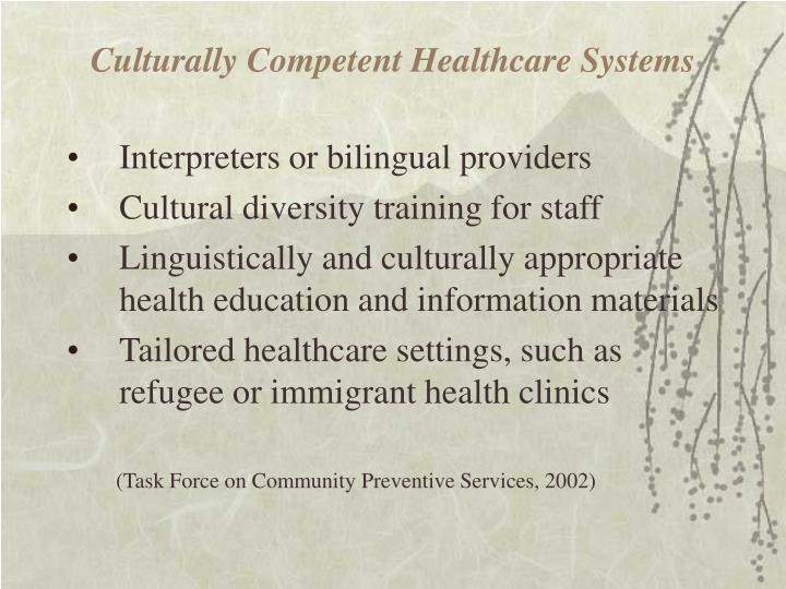 Culturally Competent Healthcare Systems