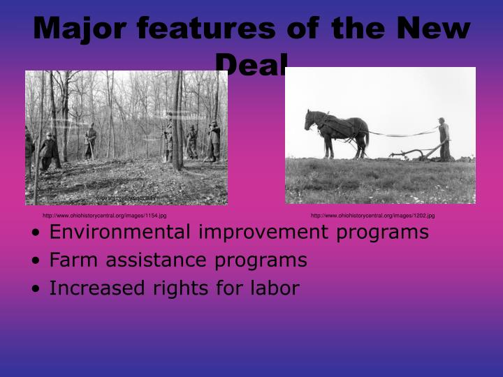 Major features of the New Deal