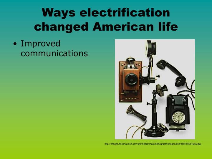 Ways electrification changed American life