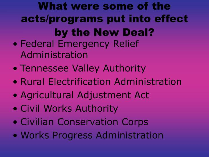 What were some of the acts/programs put into effect by the New Deal?