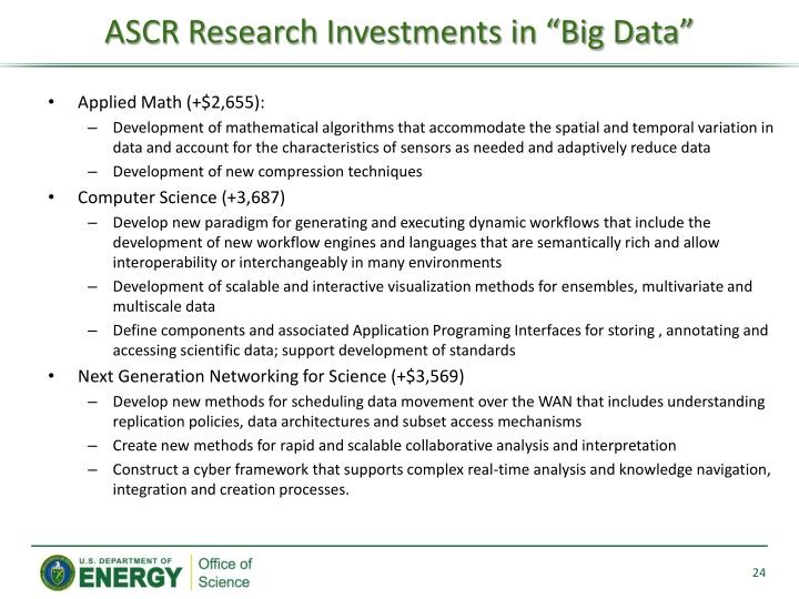 """ASCR Research Investments in """"Big Data"""""""