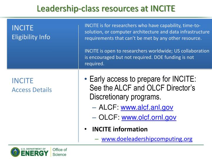 Leadership-class resources at INCITE