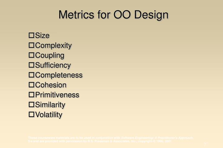 Metrics for OO Design