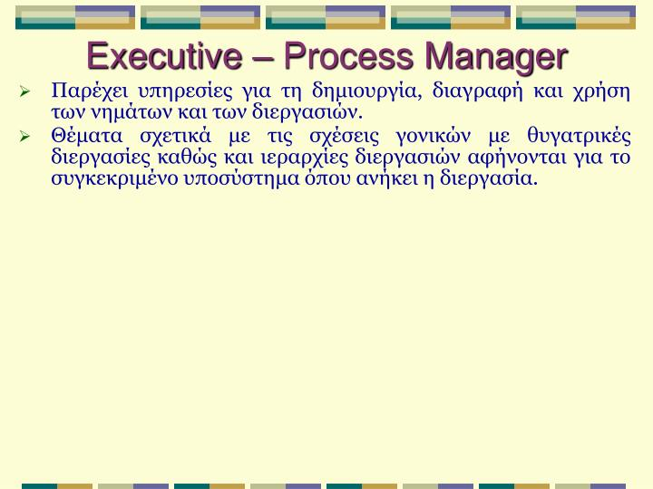 Executive – Process Manager