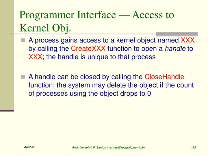 Programmer Interface — Access to Kernel Obj.