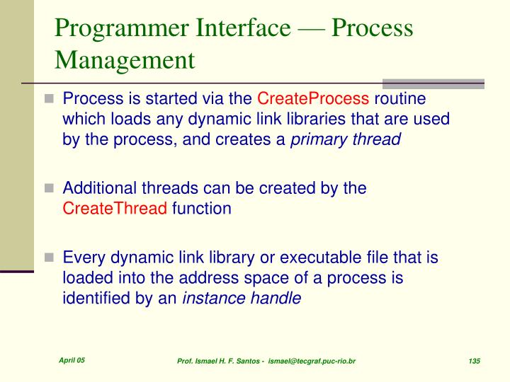 Programmer Interface — Process Management