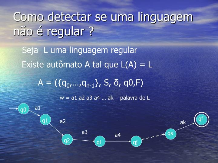 Como detectar se uma linguagem n o regular