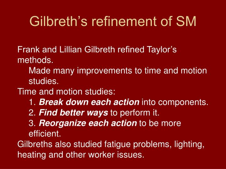 Gilbreth's refinement of SM