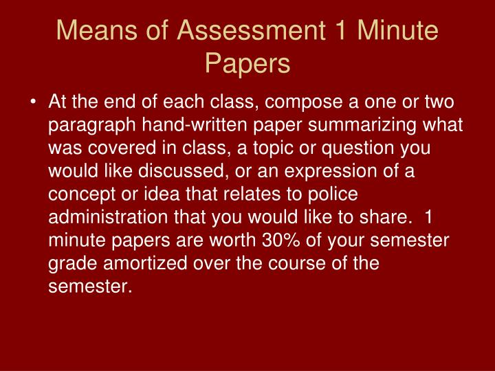 Means of Assessment 1 Minute Papers