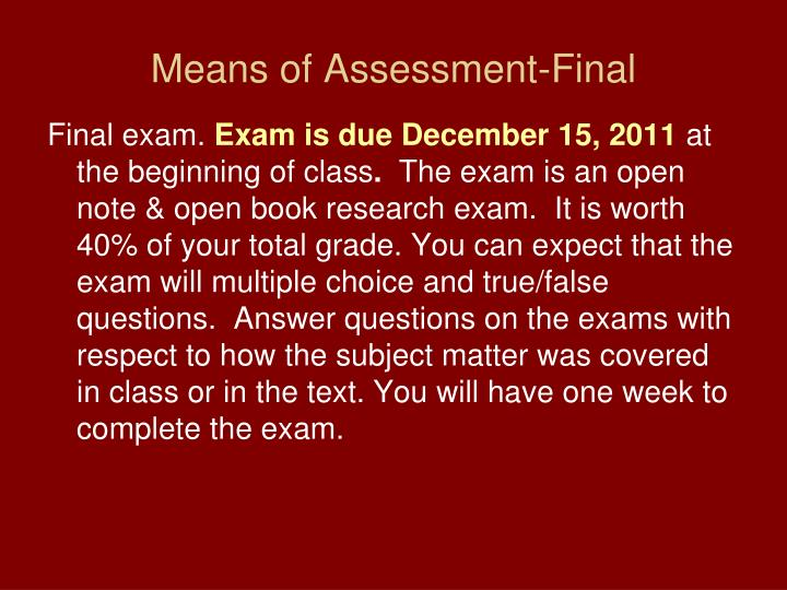 Means of Assessment-Final