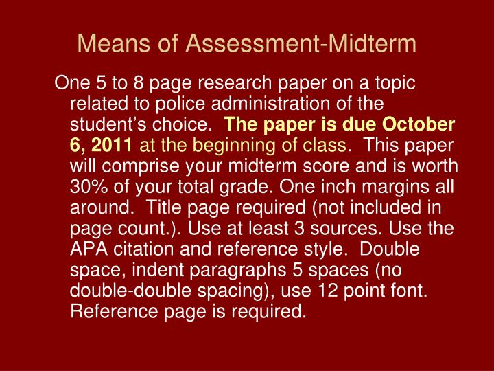 Means of Assessment-Midterm