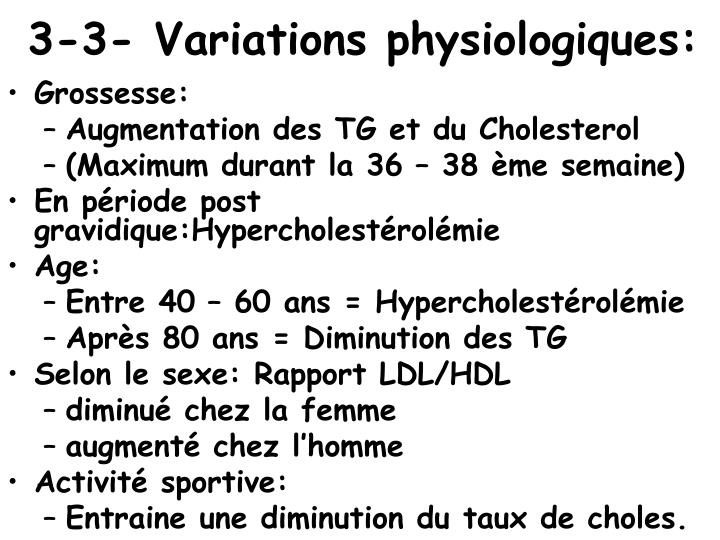 3-3- Variations physiologiques: