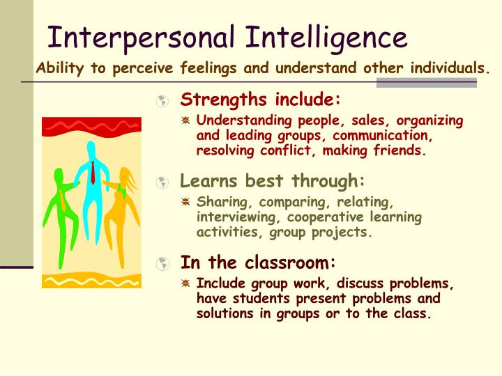 interpersonal intelligence essay Interpersonal intelligence - essay example comments (0) add to wishlist delete from wishlist it is defined as the intelligence concerned with the capacity to understand the intentions, motivations and.