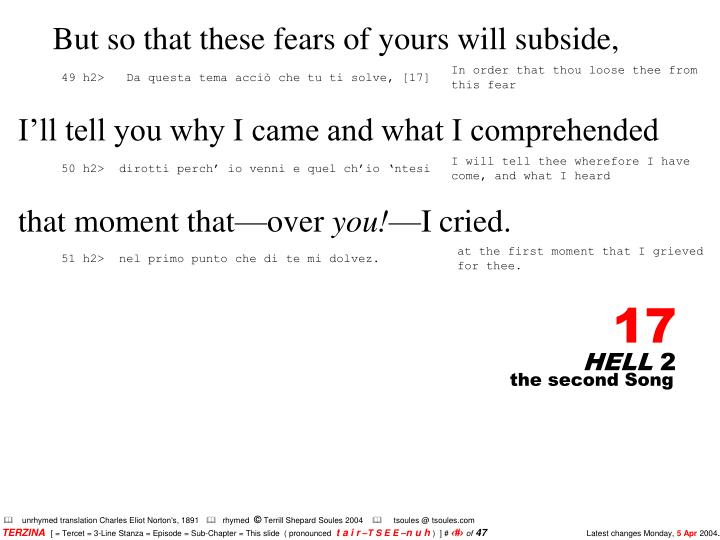 But so that these fears of yours will subside,
